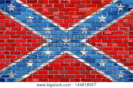 Confederate flag on a brick wall - Illustration,  Flag of the Confederate States of America,  Grunge abstract flag of the Confederacy