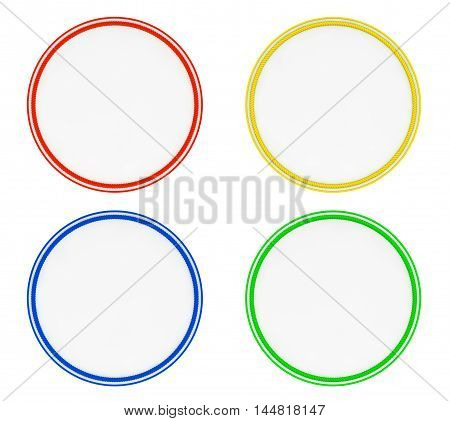 Blank Multicolour Uniform Patches on a white background. 3d Rendering
