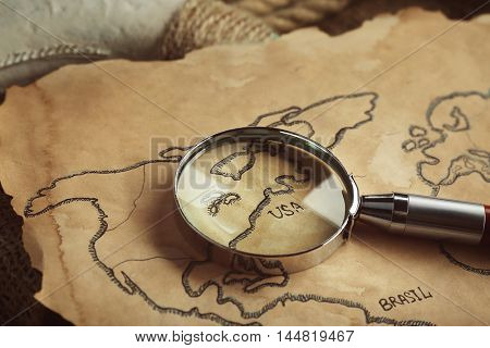 Old map with compass. Happy Columbus day concept