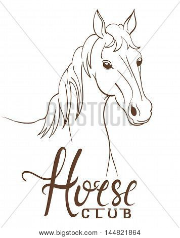 horse club emblem with line art drawing. vector illustration