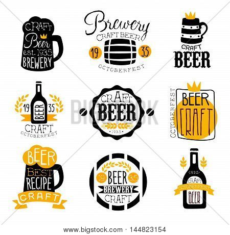 Craft Brewery Set Of Logo Design Templates. Black And Yellow Vector Labels With Text And Establishment Date For Brewery Promotion.