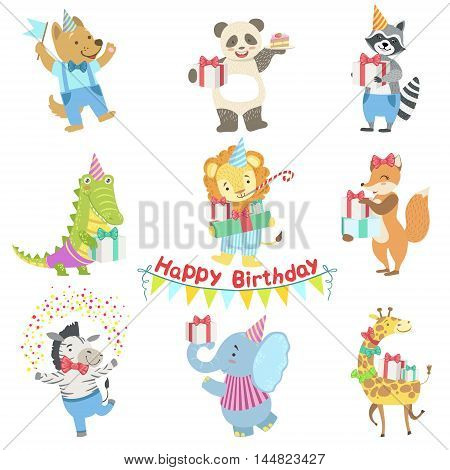 Humanized Animal Characters Attending Birthday Party Celebration Set. Childish Cartoon Style Animals Dressed In Human Clothes Vector Stickers