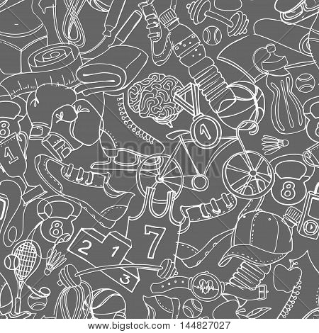 Vector illustration Black and white Sport fitness functional training background seamless hand drawn doodle style pattern. Winter summer and gym sport objects: workout cross fit yoga poster