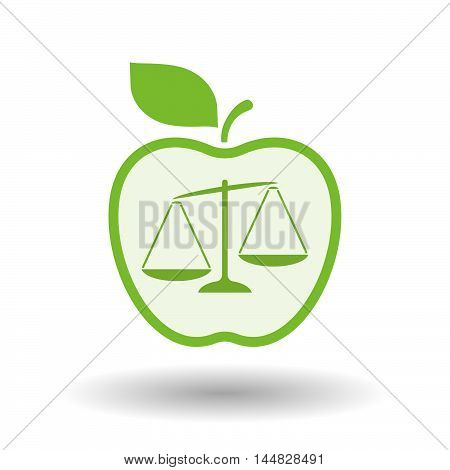 Isolated  Line Art  Apple Icon With  An Unbalanced Weight Scale