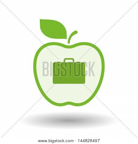 Isolated  Line Art  Apple Icon With  A Briefcase
