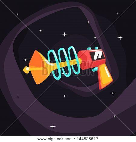 Fantastic Blaster Gun Pistol On Dark Night Sky Background. Cool Colorful Cosmic Fantasy Vector Illustration In Stylized Geometric Cartoon Design