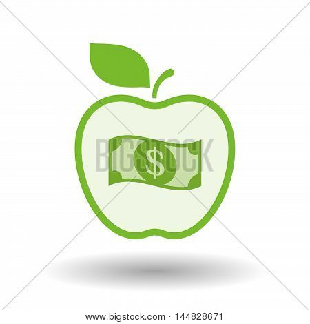 Isolated  Line Art  Apple Icon With A Dollar Bank Note