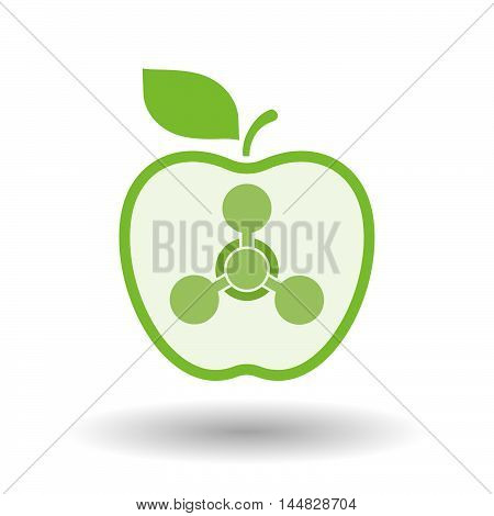 Isolated  Line Art  Apple Icon With A Chemical Weapon Sign