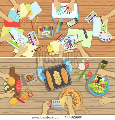 Children Craft And Cooking Lesson Two Illustrations With Only Hands Visible From Above The Table. Kids In Art Class Working In Teams Colorful Cartoon Cute Vector Pictures.