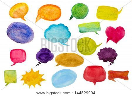 set of watercolor speech bubbles  on white
