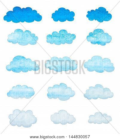 set of watercolor clouds on white background