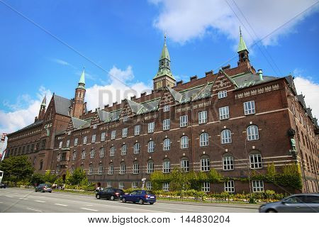View of Radhus Copenhagen city hall from H.C. Andersens Boulevard in Copenhagen Denmark