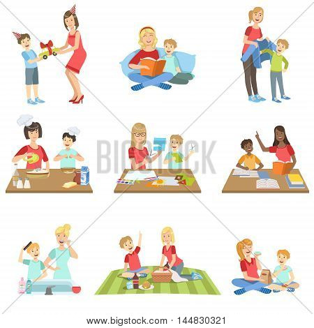 Mother And Son Passing Time Together Set Of Illustrations. Cute Simple Cartoon Style Drawings Of Single Mom And Her Kid Pastime.