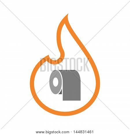 Isolated  Line Art  Flame Icon With A Toilet Paper Roll