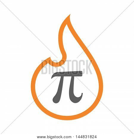 Isolated  Line Art  Flame Icon With The Number Pi Symbol