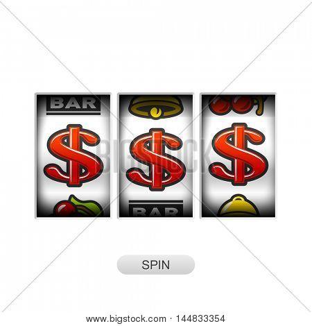 Slot machine with dollars jackpot. Vector illustration.