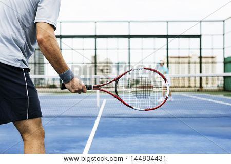 Tennis Racket Swing Sporting Hobby Playing Concept