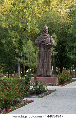 Astrakhan Russia - August 27 2016: Unique monument to Persian philosopher and poet Omar Khayyam Nishapuri in Russia.