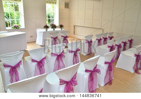 Wedding room set up for a ceremony in a hotel