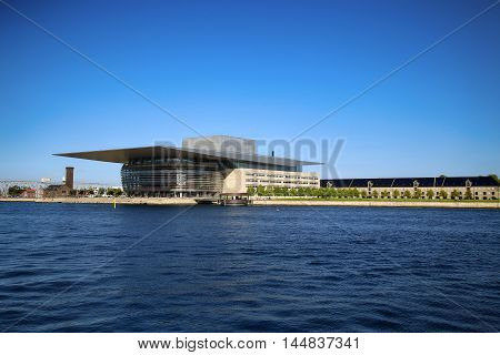 COPENHAGEN DENMARK - AUGUST 15 2016 The Copenhagen Opera House which is located in the Holmen building designed by Henning Larsen on December 28 2014. in Copenhagen Denmark on August 15 2016.