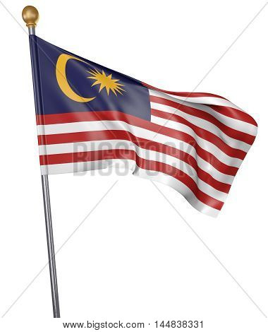 National flag for country of Malaysia isolated on white background, 3D rendering