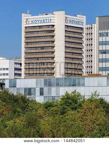 Basel, Switzerland - 27 August, 2016: Novartis building. Novartis International AG is a Swiss multinational pharmaceutical company based in Basel, Switzerland, ranking number one in sales among the worldwide industry.
