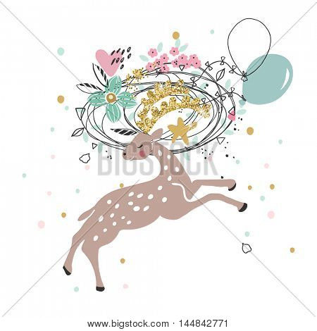 happy jumping deer