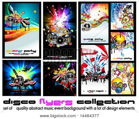 Set of 9 Abstract Music Background for Discoteque Flyer with a lot of design  elementes - Set 5