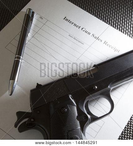 Handgun and sales receipt for a handgun sold over the Internet