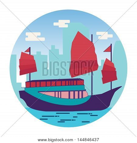 Hong Kong harbour with tourist junk in flat vector illustration on white background