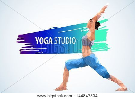 Low poly yoga. Yoga logo template. Yoga studio design. Young woman in low poly style practicing yoga. EPS 10 vector.
