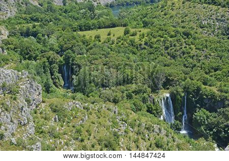 Manojlovac Slap waterfall on the River Krka in Krka National Park Sibenik-Knin County Croatia.