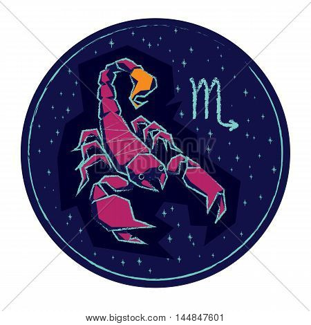 Zodiac sign Scorpio on night starry sky background. Vector illustration. poster