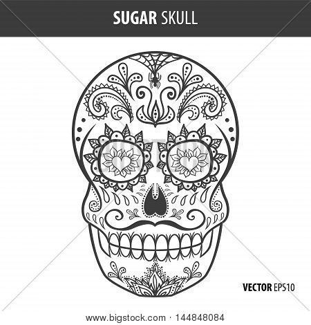 Day of the dead sugar skull vector. Mexican skull. Day of the dead skull. Dia de los muertos skull illustration. EPS10 vector illustration. Easy editable.