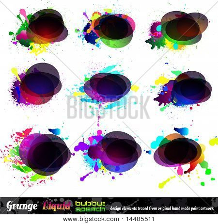 Grunge Bubble Speach Collection with rainbow colours and liquid drops elements - Set 1