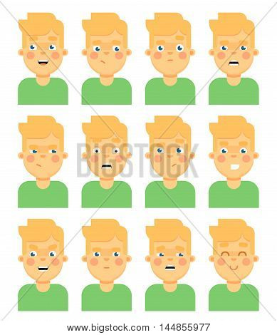 People emotional icon isolated on white background vector illustration. People faces. People emotions set. Emotion faces. Close up faces. Cartoon people faces emotions. Different emotions. Happy faces. People faces icon. Avatar set.