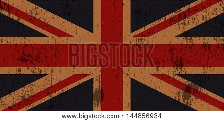 An illustration of a grunge textured worn old Union Jack flag. Vector EPS 10 available.