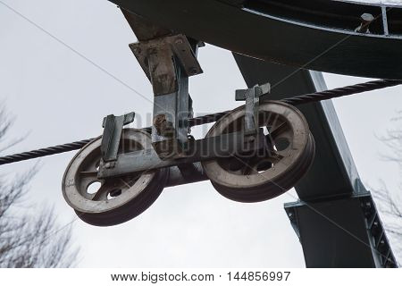 Pulleys of iron of a mountain chairlift