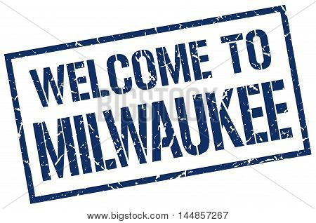 welcome to Milwaukee. stamp. grunge square sign