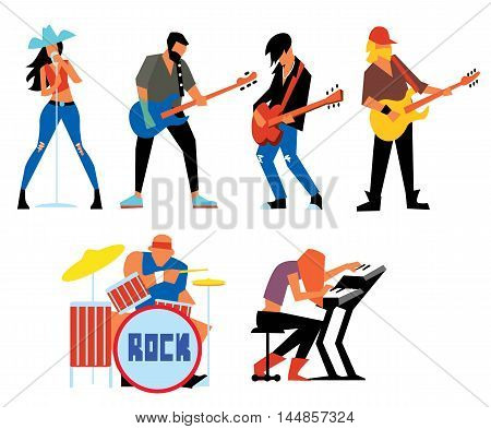 Musicians rock group isolated on white background. Singer, guitarist, drummer, solo guitarist, bassist, keyboardist. Rock band. Vecor illustration.