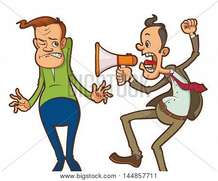 Cartoon angry boss with megaphone yelling to his employee