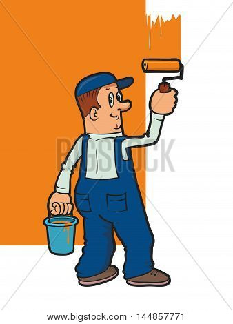 illustration of a smiling house painter painting wall with paint roller
