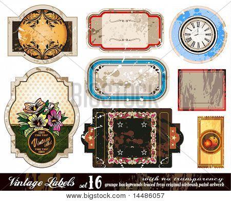 Vintage Labels Collection - nine design elements with original antique style -Set 16