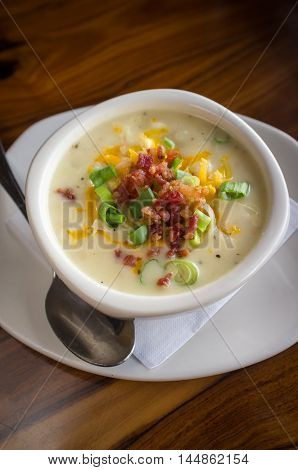 Creamy loaded baked potato soup with scallion
