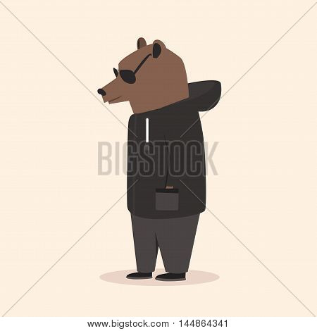 Animal in clothing. Casual style. Cartoon vector illustration. Anthropomorphism Bear