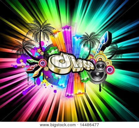 High Tech Music Disco Background with glowing Rainbow lights