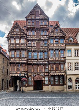 Old house on the manin square in Hildesheim Germany