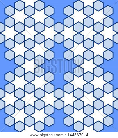 Blue seamless stellar pattern. Seamless pattern of crosses and stars simulating stained glass. Seamless abstract geometric pattern. Vector illustration