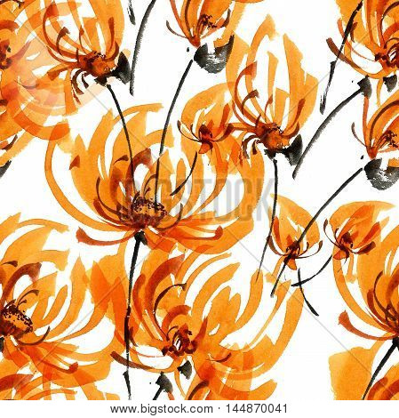 Watercolor and ink illustration of orange chrisanthemium fowers and buds. Oriental traditional painting in style sumi-e gohua. Decorative seamless patterns.