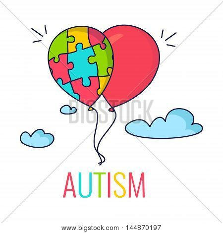 Autism awareness poster with colorful balloons made of puzzle pieces. Puzzle as symbol of Autism. Vector illustration.